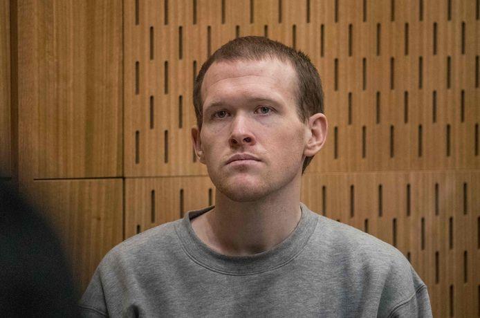 Brenton Tarrant tijdens de rechtszaak in Christchurch.
