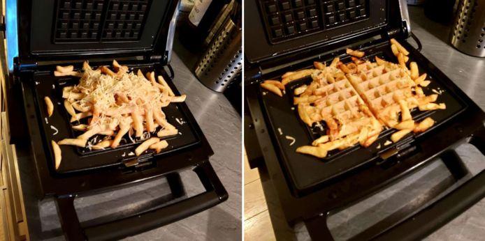 Smijt verlepte frieten met kaas tussen een wafelijzer en ontdek de frietwafel.