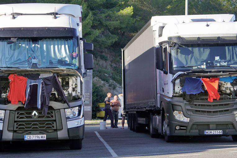 Driekwart van de truckers zegt in problemen te komen met rusttijden door te weinig rustplekken. Beeld Flip Franssen/ANP