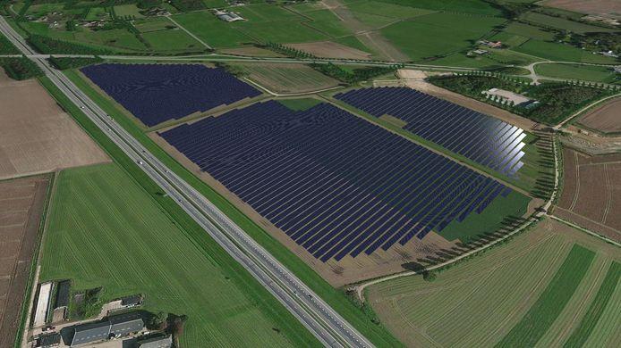 Een visualisatie van het te bouwen zonnepark Bankhoef bij Hernen.