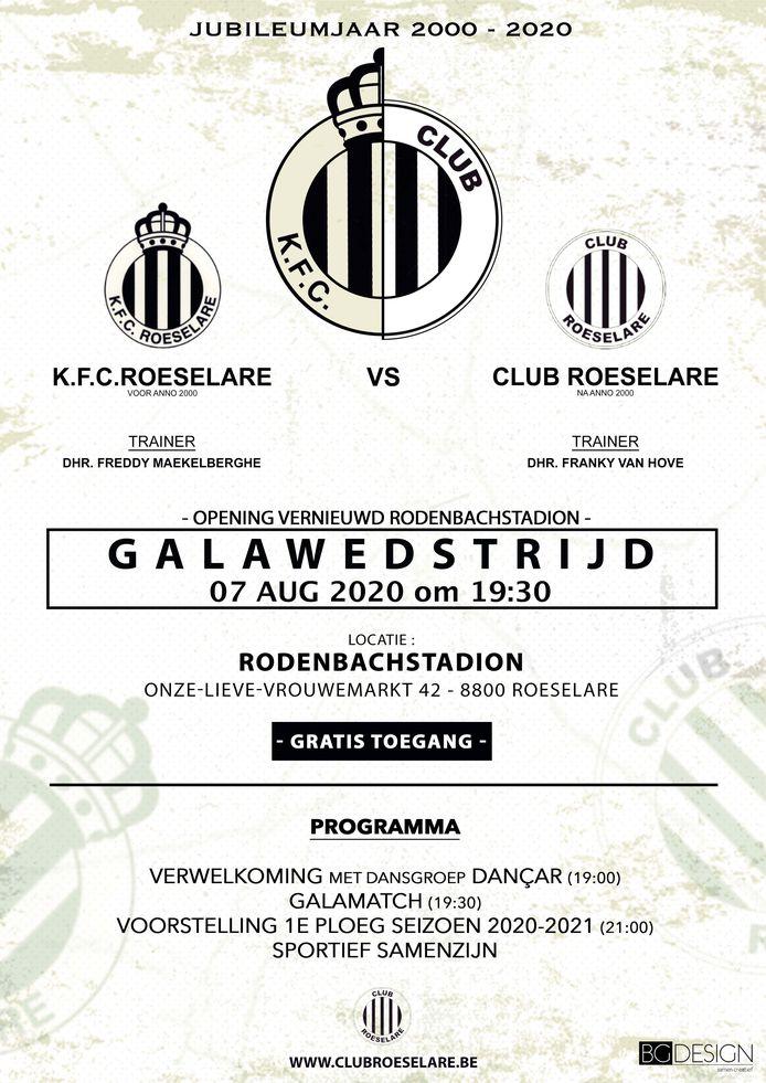 Op 7 augustus wordt de 20ste verjaardag van Club Roeselare gevierd met een galamatch.
