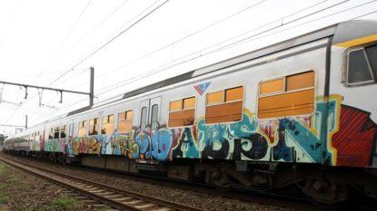 Jongeren besmeuren treinstellen met graffiti  en vluchten, politie start onderzoek