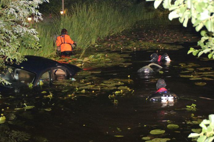 Auto te water op de Voorweg in Zoetermeer.