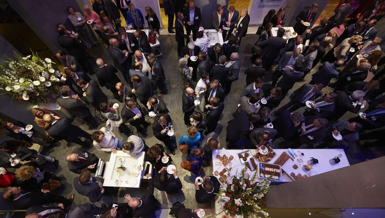Ondernemers, politici en vakbonden op het het traditionele miljoenenontbijt, georganiseerd op de dag na Prinsjesdag door werkgeversorganisatie VNO-NCW. Beeld anp