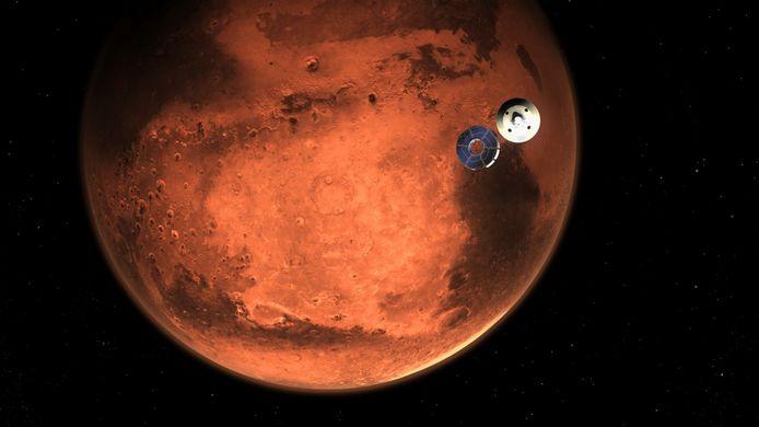 De robotjeep Perseverance, enkele minuten voor die de atmosfeer van Mars binnenkwam.