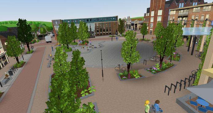 Beeld uit de 3D-animatie van het toekomstige Louis Jansenplein in Cuijk.