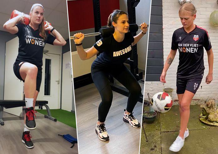 Esther Lakerveld (links) Joy van der Elst (midden) en Kayla van den Boomgaard (rechts) zijn niet alleen ploeggenoten bij het Gorcumse Unitas. Ze scheurden in 2020 ook alle drie hun kruisband af. Een update.