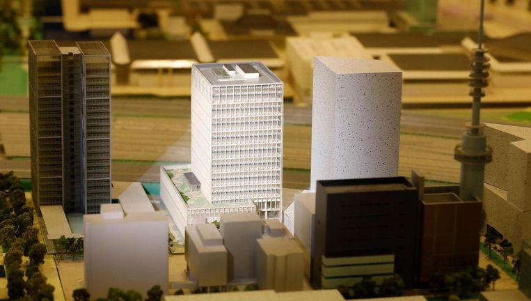 Maquette van het nieuw te bouwen EMA-gebouw op de Zuidas Beeld ANP