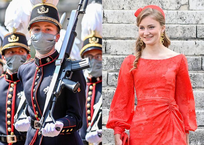 Het contrast is groot: in de namiddag verscheen Elisabeth in militaire uitrusting, hoewel ze in de voormiddag in een echte 'prinsessenjurk' kwam opdagen.