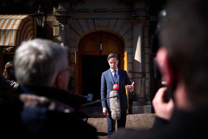 Demissionair minister-president Rutte geeft een toelichting na afloop van de wekelijkse ministerraad.