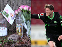 Een monumentje voor Lotte uit Almelo (links) en spits Wout Weghorst na zijn 20e doelpunt van het seizoen voor Wolfsburg.