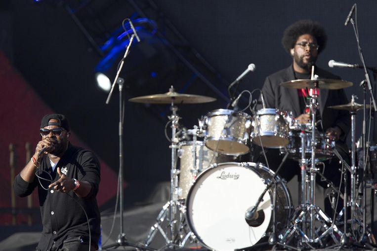 Tariq 'Black Thought' Trotter (l.) en Ahmir 'Questlove' Thompson van de hiphopgroep The Roots. Beeld REUTERS