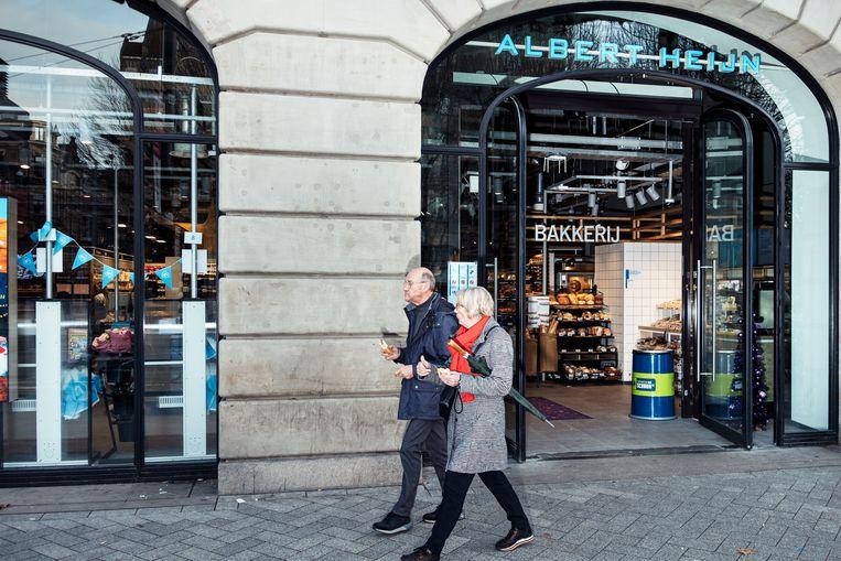 De nieuwe Albert Heijn in het Hirschgebouw aan het Leidseplein. Beeld Jakob Van Vliet