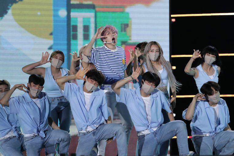 K-popband Wanna One tijdens een optreden in juni in Seoel.  Beeld Han Myung-Gu/WireImage