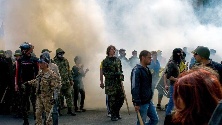 Protesten in het centrum van Odessa vandaag. Beeld EPA