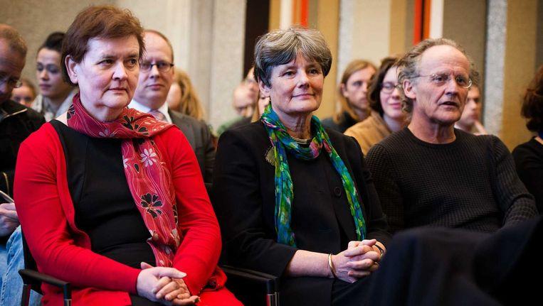 Rector magnificus Universiteit van Amsterdam (UvA) Dymph van den Boom, voorzitter College van Bestuur UvA Louise Gunning en decaan Frank van Vree tijdens het kortgeding van de UvA over de bezetting van het Bungehuis. Beeld anp