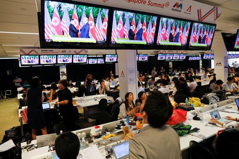 Het mediacentrum voor de top in Singapore Beeld REUTERS