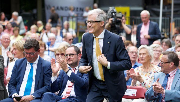 Vlaams minister-president Geert Bourgeois tijdens zijn 11 julitoespraak Beeld BELGA