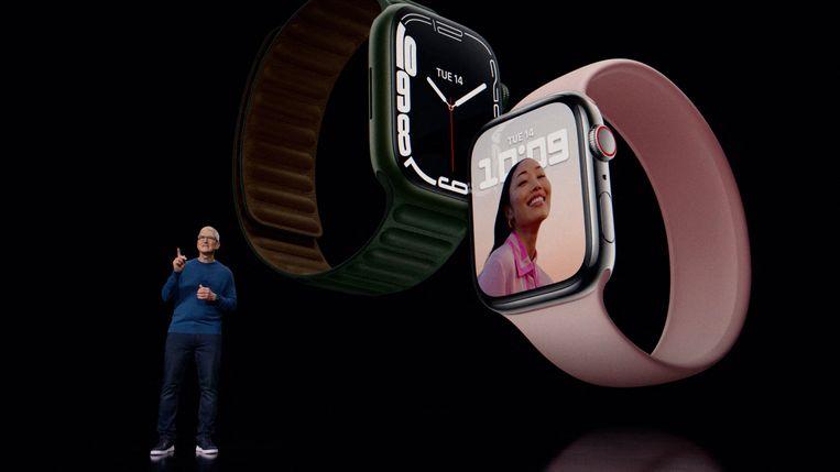Appledirecteur Tim Cook bij de presentatie van de nieuwe Apple Watch, vorige maand. Beeld AFP