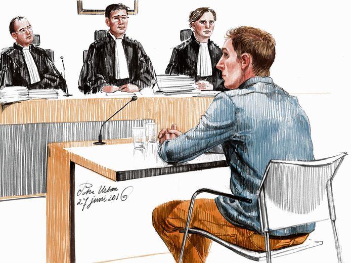 Illustratie van de rechtzaak tegen Mark de J. verdachte in de zaak Koen Everink, gemaakt door Petra Urban.