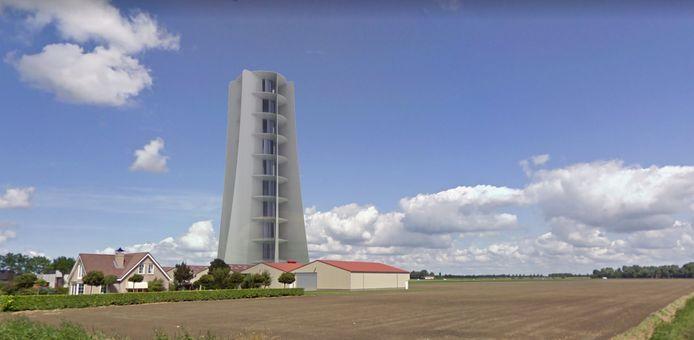 Een impressie van de cyclone windturbine, een windmolen zonder wieken.