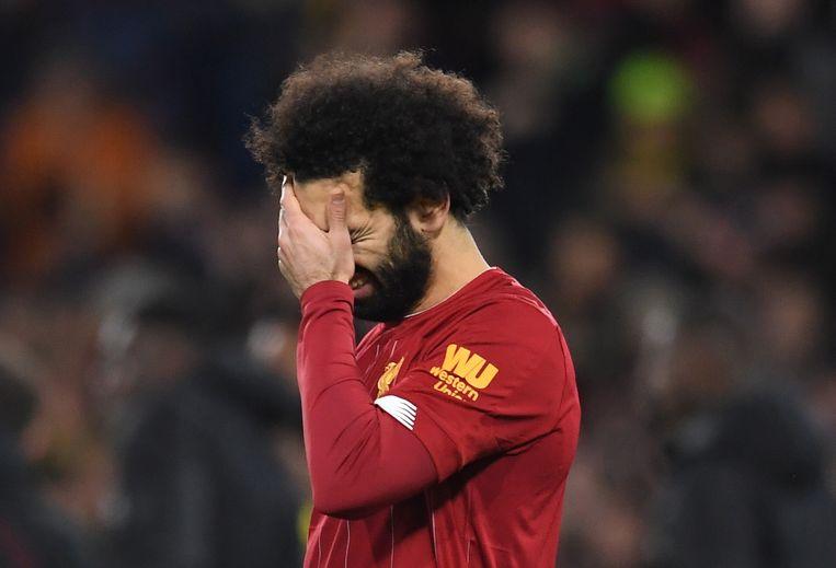 Mohamed Salah na afloop van de wedstrijd Beeld EPA
