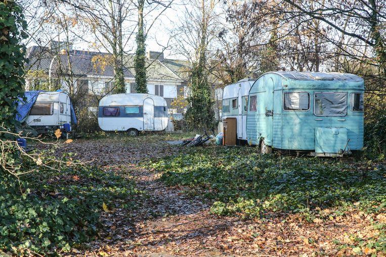 Het Romakamp in een bosje aan de Meeuwstraat.