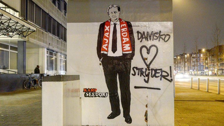 Het portret van de burgemeester in de Wibautstraat Beeld Kamp Seedorf