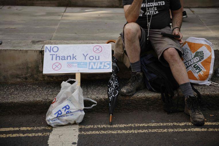 Een anti-vaccinatieprotest in Londen. Beeld AFP