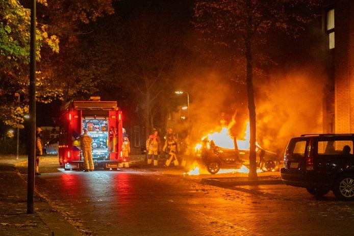 Brandweerlieden kunnen niet voorkomen dat de auto in vlammen opgaat.