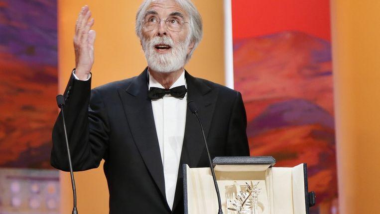 De Oostenrijkse regisseur Haneke ontving de Gouden Palm voor zijn film Amour Beeld epa