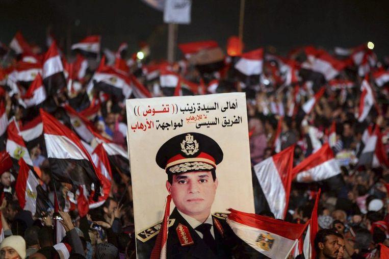 Voorstanders van legerchef Abdel Fattah al-Sissi. Naar alle waarschijnlijkheid stelt hij zich kandidaat. Beeld REUTERS