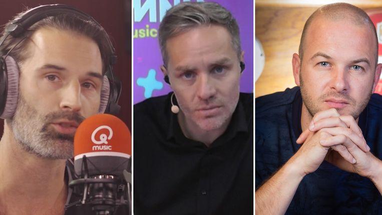 Sean Dhondt, Peter Van de Veire en Stan Van Samang. Beeld Qmusic, VRT, Belga