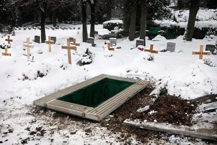 Een vers gedolven graf van een coronadode op de begraafplaats van Schöneck. Beeld Daniel Rosenthal