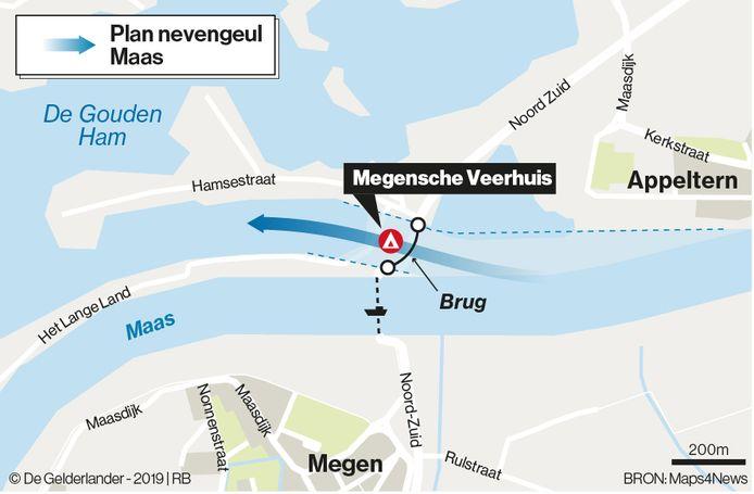 De beoogde locatie van de brug naar het Appelternse veer.