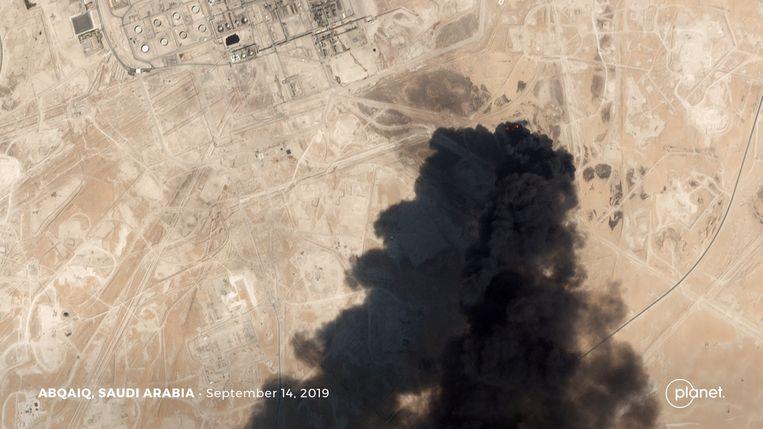 Een satellietbeeld van de aanval.  Beeld Planet Labs Inc via REUTERS