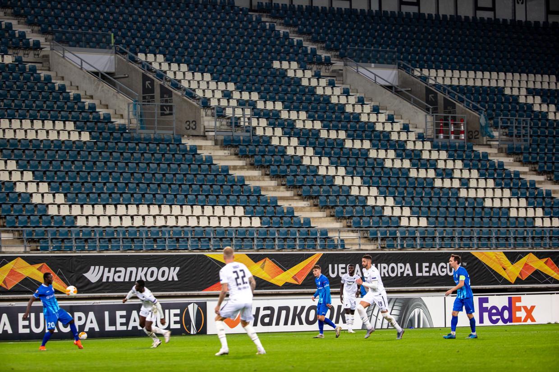 De tribune van de Ghelamco Arena bleef leeg tijdens de UEFA-wedstrijd KAA Gent - TSG 1899 Hoffenheim, net als bij zovele andere matchen dit jaar. Beeld BELGA