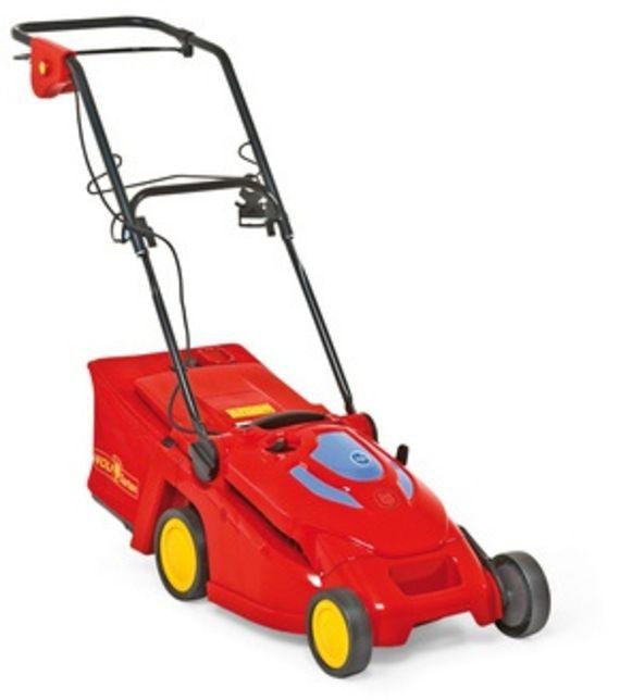 Voorbeeld van een elektrische grasmaaier met draad.