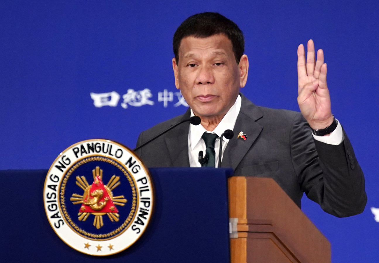 "Philippine President Rodrigo Duterte delivers a speech at the special session of the International Conference on ""The Future of Asia"" Friday, May 31, 2019, in Tokyo. (AP Photo/Eugene Hoshiko)"