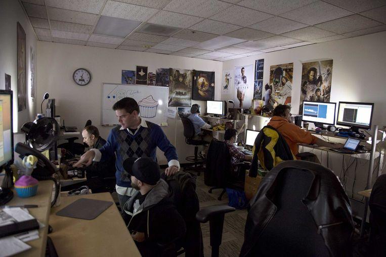 2013-01-15 LOS ANGELES - Medewerkers van Erik-Jan de Boer in een animatiestudio. De Nederlander heeft een Oscar-nominatie te pakken voor de special effects van de film Life of Pi. ANP BRET HARTMAN Beeld ANP