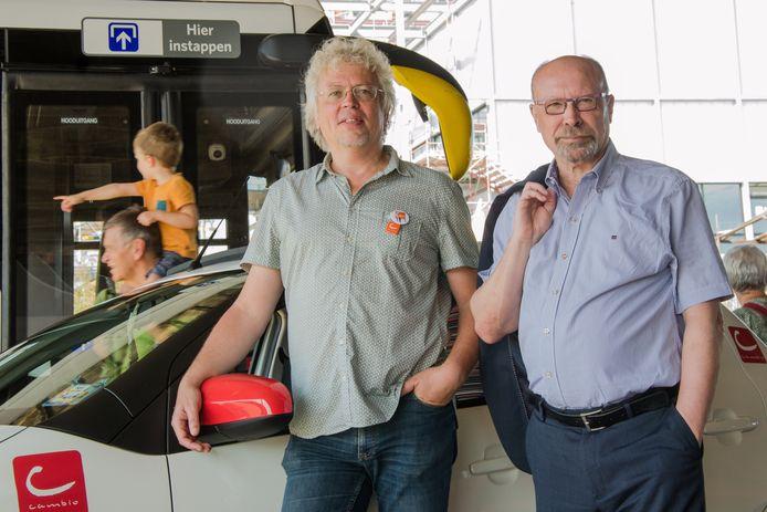 Links: Geert Gisquiére, één van de bezielers van Cambio. Rechts: Roger Kesteloot directeur-generaal van De Lijn.