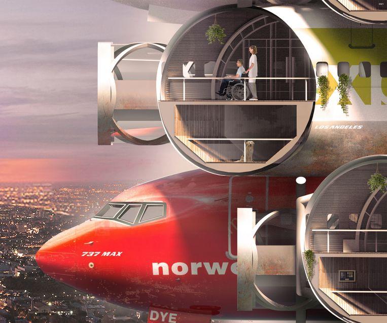 Inzending van Victor Hugo Azevedo en Cheryl Lu Xu, twee Amerikaanse architecten, voor de Evolo 2020 Skyscraper Competion. Ze ontwierpen een wolkenkrabber opgebouwd uit de rompen van de Boeing 737 Max-toestellen.