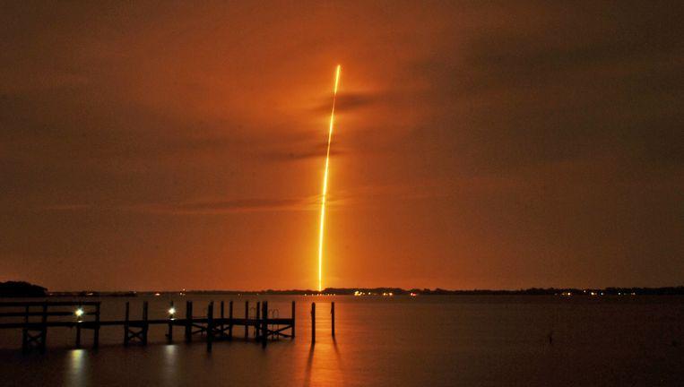 De lancering van de SpaceX raket Falcon 9. Beeld AP