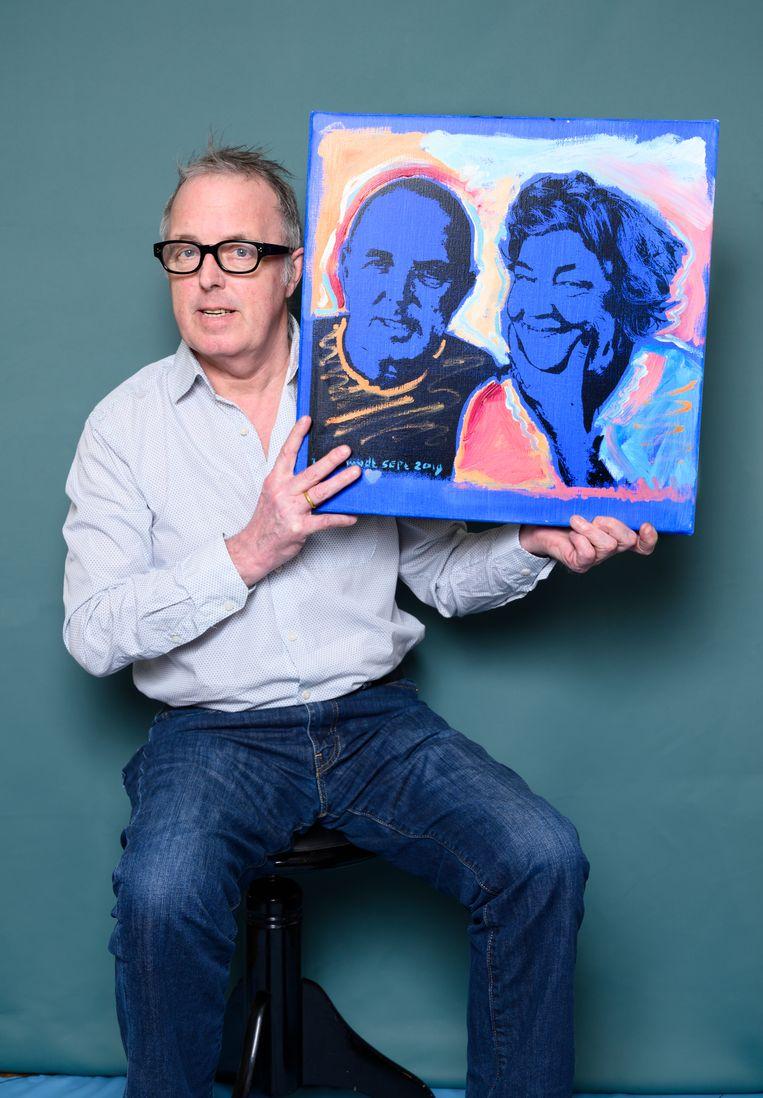 Een portret van Geert Timmers en zijn vrouw geschilderd door Hes Mundt. Beeld Els Zweerink