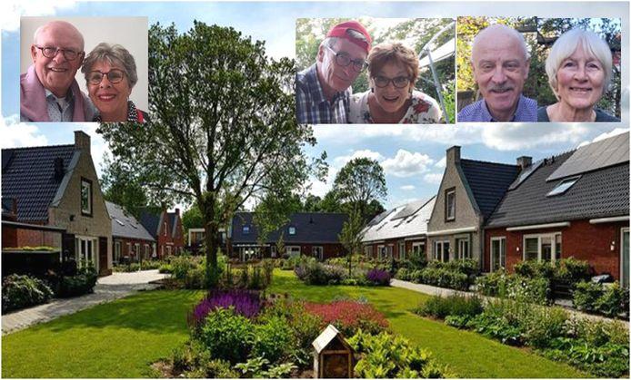 De initiatiefnemers achter een Houtens knarrenhof zijn, vlnr.: Cees & Gerda, Eddy & Froukje en Cor & Plony.