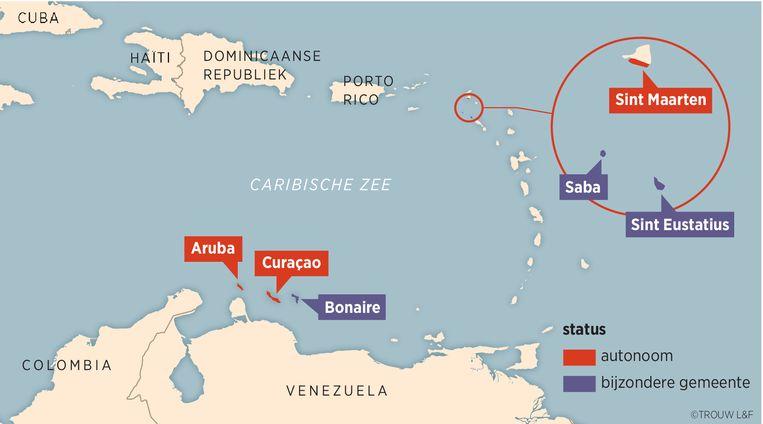 De status  van de verschillende Nederlands-Caribische eilanden.  Beeld Louman & Friso