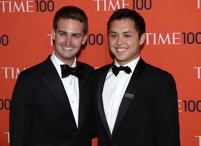 Oprichters van Snapchat Evan Spiegel en Bobby Murphy bij het Time 100 Gala in 2014. Beeld afp