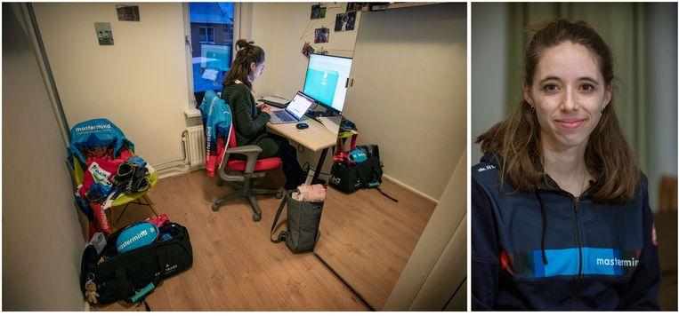 Emma Engbers, marathonrijdster. Aan het werk achter een scherm thuis, als consultant.  Beeld Werry Crone