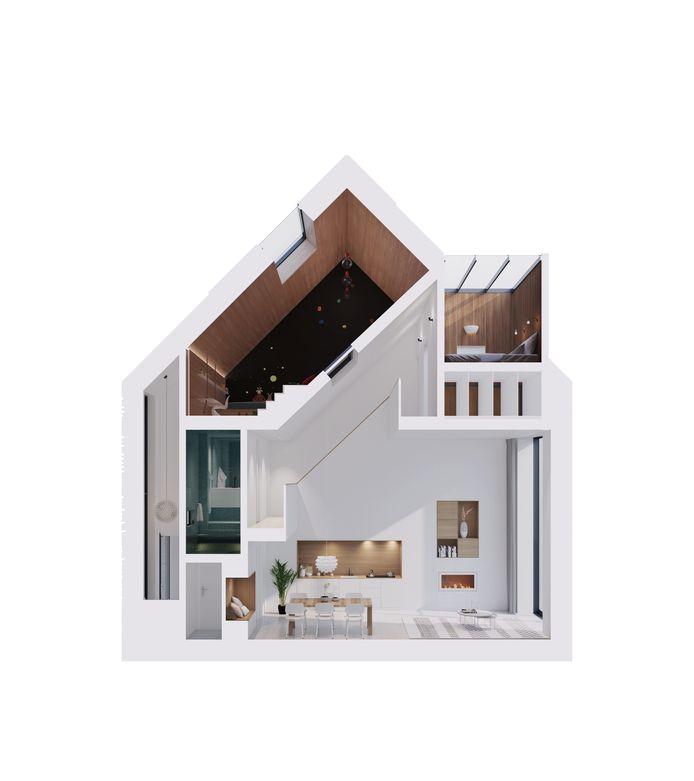 Een dwarsdoorsnede van het huis, met veel hoge ruimtes.