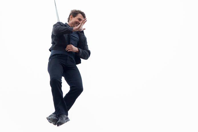 Immer vriendelijk en nooit uit de hoogte, die Tom Cruise. Hier aan het betere stuntwerk in Londen.